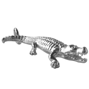 Crocodile charm sterling silver or gold pendant