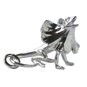 Frill necked lizard charm sterling silver or gold reptile