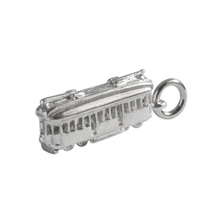 Tram charm sterling silver pendant