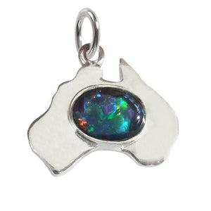 Australia map charm opal sterling silver or gold pendant