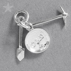 Sterling Silver Gold Panning Tools Charm