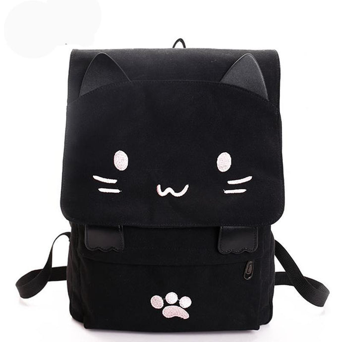 Embroidered Canvas Cat Backpack