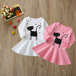 Baby Girl Long Sleeved Cat Print Dress