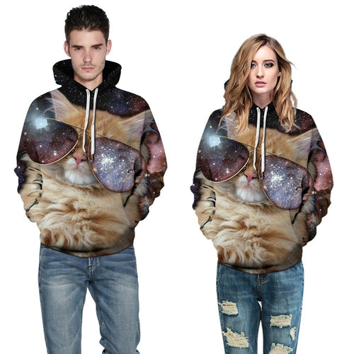 Unisex 3D Cat Print Long Sleeved Hoodie