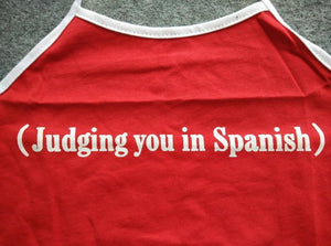 (Judging you in Spanish) Cropped Halter Top