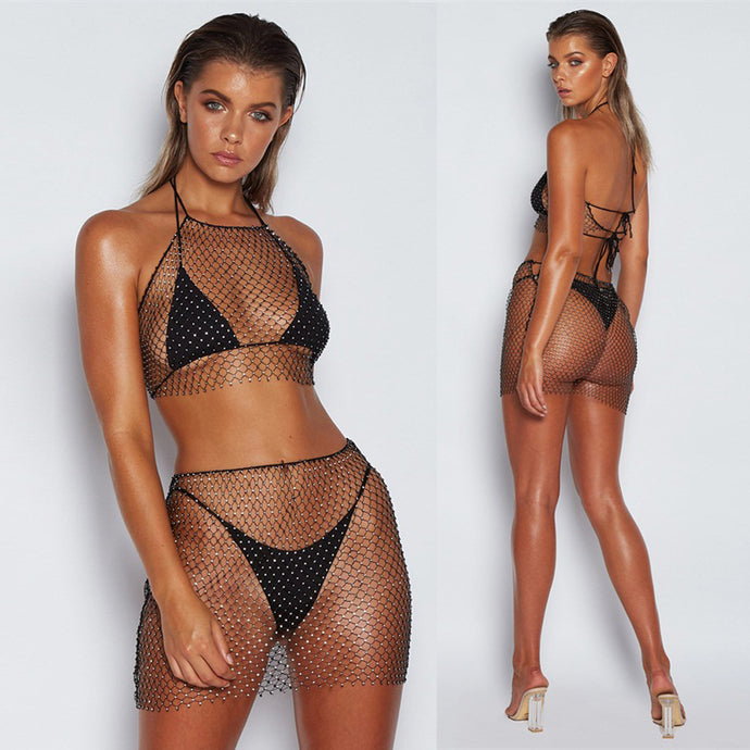 Beach Wave Bling Fishnet Set