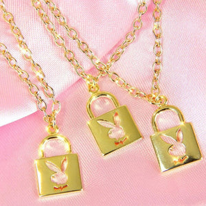 Golden Playmate Lock & Key Necklaces