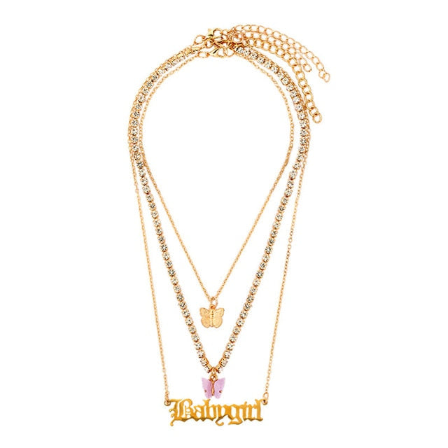 Butterfly Babygirl Tri-Layer Necklace Set