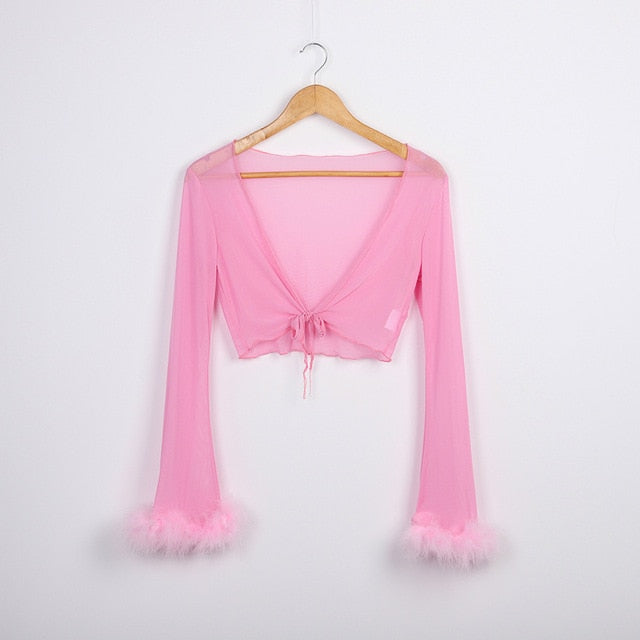 Playmate Boa Tie Top