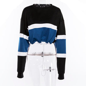 True Stripe Drawstring Crop Sweatshirt