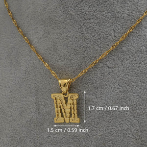 Gold Initial Ridge-Cut Necklace