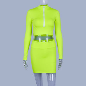 Neon Athletic Mini Skirt Set
