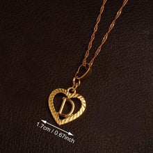 Ridge-Cut Heart Initial Pendant Necklace