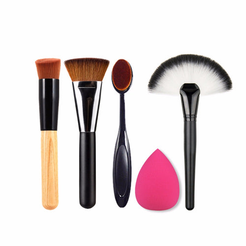 Make Up Brush Set + Egg Sponge :: 5 PCS