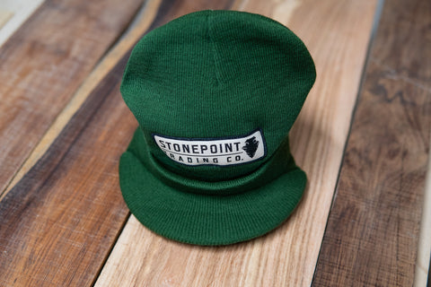 Stone Point Patch Logo Brimmed Beanie - Green