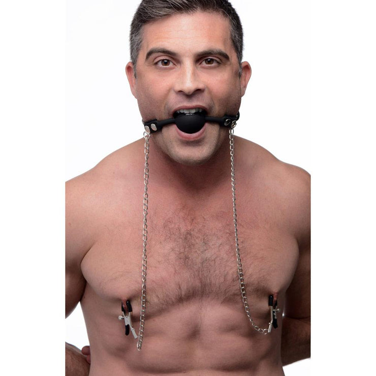 Silicone Ball Gag with Nipple Clamps