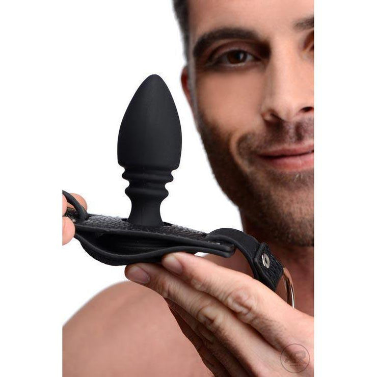 Male Cock Ring Harness with Silicone Anal Plug