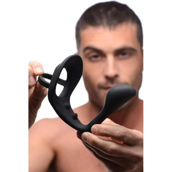 Excursion Silicone Triple Stim Anal Plug with Cock and Ball Ring