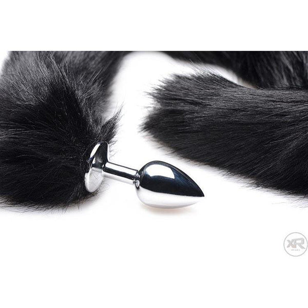 Black Extra Long Mink Tail with Metal Anal Plug