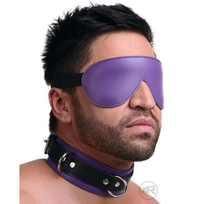 Strict Leather Black and Purple Deluxe Locking Collar