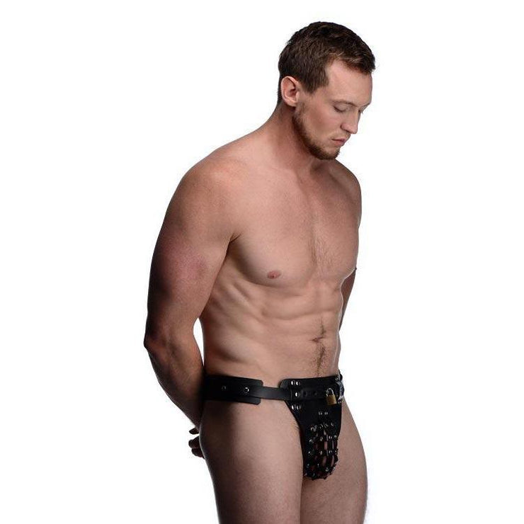 Leather Male Chastity Belt with Anal Plug Harness