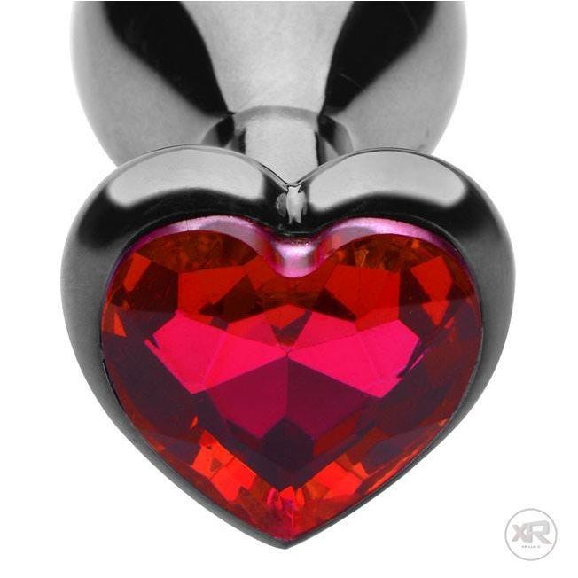 Scarlet Heart Shaped Jewel Anal Plug