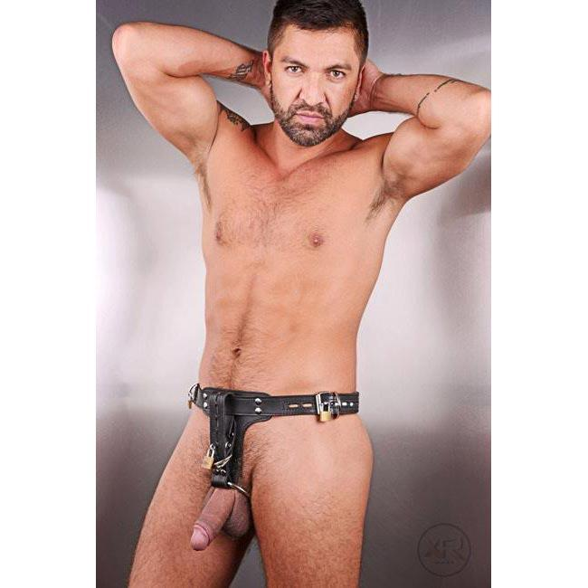 Premium Locking Leather Cock Ring and Anal Plug Harness