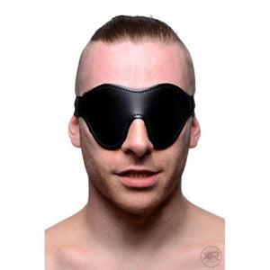 Black Fleece Lined Blindfold donned front