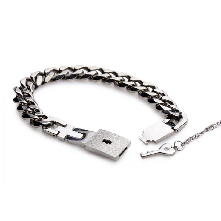 Chained Locking Bracelet and Key Necklace