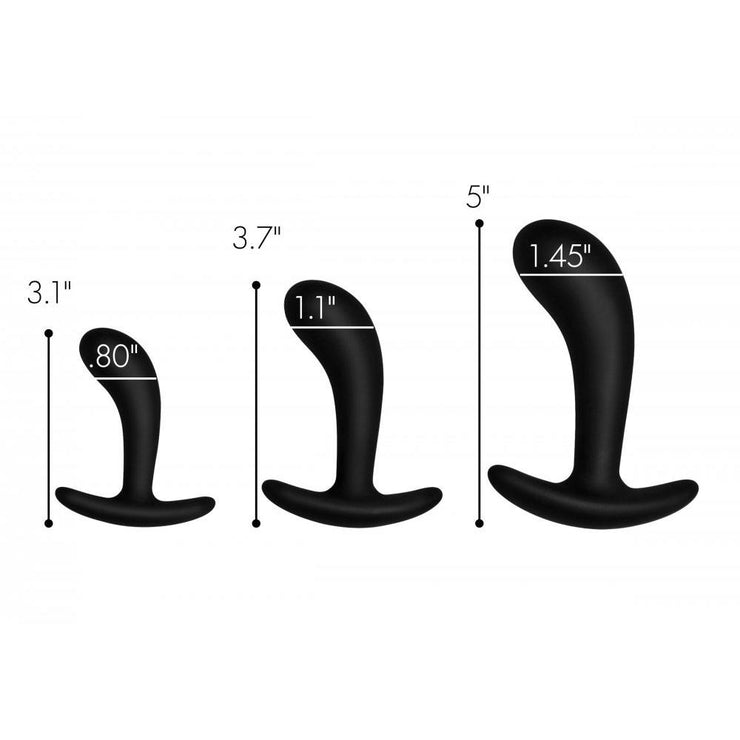Dark Delights 3 Piece Curved Silicone Anal Trainer Set