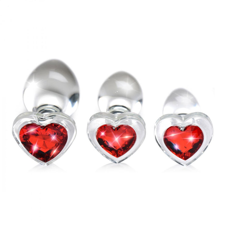 Red Heart Gem Glass Anal Plug Set