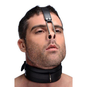 Bondage Collars - Leather Collar with Nose Hooks
