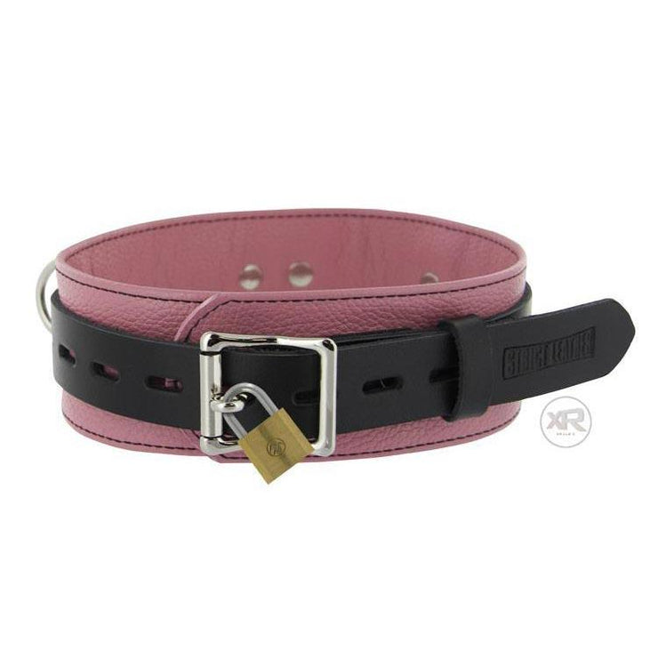 Bondage Gear - Strict Leather Deluxe Black/Pink Locking Collar | BoyzShop
