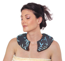 Female model wearing C-shaped shoulder wrap - chocolate brown silk with shimmering aqua blue bamboo leaf embroidery