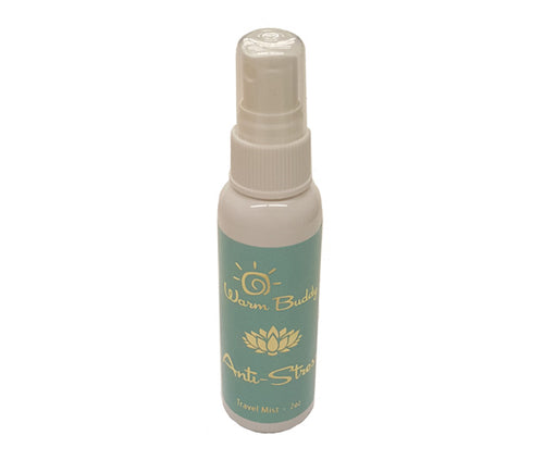 White spray bottle -2oz Warm Buddy anti-stress travel mist -aqua label with gold print