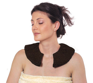 Female model wearing C-shaped shoulder wrap - chocolate brown velour