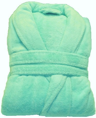 Bath robe-folded shawl collar micro-terry w/matching belt - aqua blue