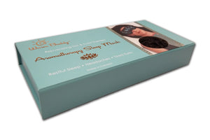 Aromatherapy Sleep Mask gift box w/gold printed Warm Buddy logo -woman's face w/sleep mask over eyes