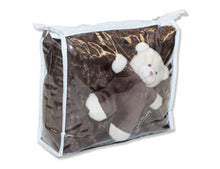 NEW Chocolate Rosebud Fur Plush Baby Blanket Set in Zippered Packaging (with Mini Teddy Bear)