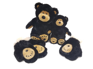 Large & Little Buddy black & tan teddy bear & bear paw mittens