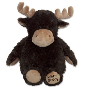 Large therapeutic hot/cold moose stuffed animal - chocolate brown fur with tan nose, antlers & feet