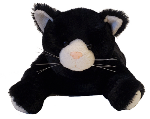 black cat face w/white patches-pink nose & button eyes, embroidered mouth w/whiskers