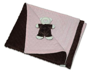Chocolate brown one side & pink reverse side raised bubble dot baby blanket w/brown & cream mini teddy bear laying on top of unfolded baby blanket