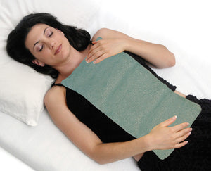 Body wrap laid across female model front torso -aqua velour