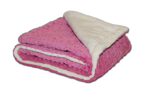 coral pink raised bubble dot folded baby blanket - corner folded cream plush
