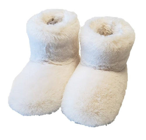 white faux fur slipper booties house shoe w/non-slip sole