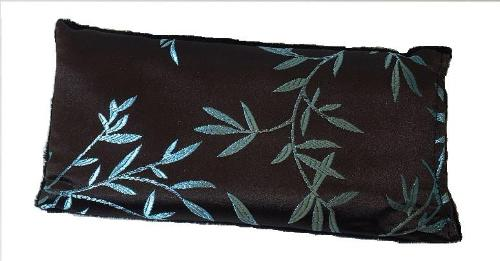 Eye pillow -top view -chocolate brown silk with shimmering aqua blue bamboo leaf embroidery- reverse side in soft black velour.