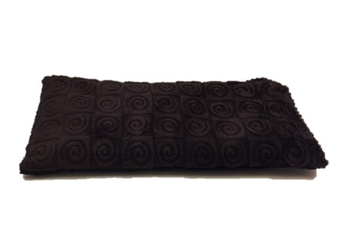 Eye pillow -top angle view -chocolate brown swirl velour.