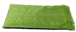 Eye pillow -top angle view -kiwi green swirl velour