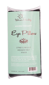 Eye Pillow -standard clear plastic pillow box packaging w/Warm Buddy gold print logo
